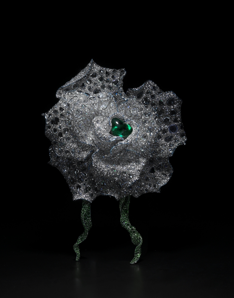 [Product Image] CINDY CHAO The Art Jewel 2015 Black Label Masterpiece No. 6 Emerald Rose Brooch